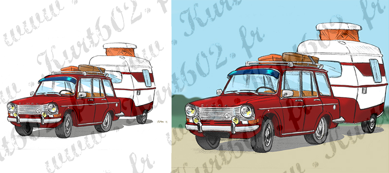Carte postale Simca 1301