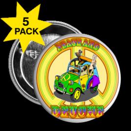 Lot de 5 badges, Peace and Deuche (2CV)